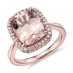 Robert Leser Morganite and Diamond Ring in 14k Rose Gold (11x9mm)