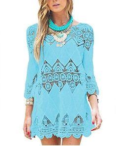 GDKEY Women's Beach Wear Bikini Cover Up Crochet Tunic Dress