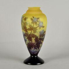 Cardo florero: Emile Gallé: Vidrio antiguo: Vendido Archivo: Recursos: Hickmet Bellas Artes