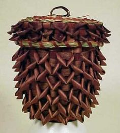 Mohawk Pine Cone Indian Basket Black Ash and Sweet Grass . Native American Baskets, Native American Pottery, Native American Indians, Native Americans, Pine Cone Art, Pine Cones, Bountiful Baskets, Indian Baskets, Native Art