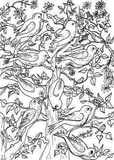 Assemblea d'ocells a l'arbre   21-4-15   retolador  Dolors Buch Castañer