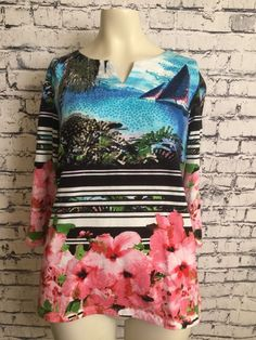 bf803ac539f Onque Casual Women XL Multi Color Flowers Sequins 3 4 Sleeve Blue Pink  Shirt Top