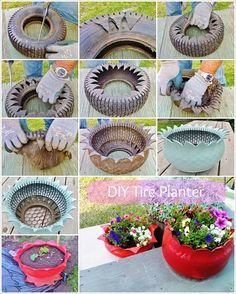 Do you might have an previous tire mendacity in your house that's of no use to you? If sure then give it a second life as a planter. To make a tire planter first rigorously make cuts within the previous tire in a zigzag method with a pointy knife as … Tire Planters, Concrete Planters, Garden Planters, Cement Garden, Flower Planters, Flower Pots, Garden Crafts, Garden Projects, Garden Ideas