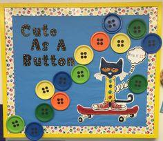 Pete the cat bulletin board, Kindergarten Bulletin Boards, Teacher Bulletin Boards, Infant Bulletin Board, March Bulletin Board Ideas, All About Me Preschool, Preschool Activities, Preschool Decorations, Classroom Crafts, Classroom Themes