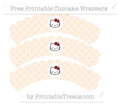 Free Antique White Polka Dot  Hello Kitty Scalloped Cupcake Wrappers