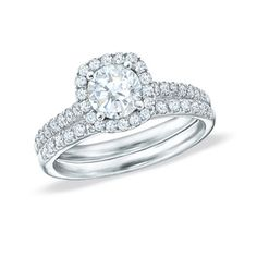 1/2 CT. T.W. Diamond Framed Bridal Set in 14K White Gold... #perfection