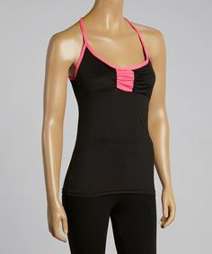 Look at this #zulilyfind! Black & Pink Color Block Tank #zulilyfinds