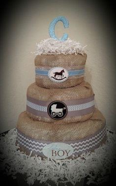 Burlap diaper cake for babyshower♡