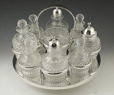 Huge English 1824 Sterling Glass Cruet Set.