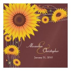 Sunflower Wedding Invitations & Announcements | Zazzle.co.nz