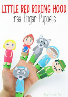 Little Red Riding Hood Finger Puppets – Easy Peasy and Fun - Ostergeschenke Basteln Travel Activities, Activities For Kids, Crafts For Kids, Diy Crafts, Little Red Ridding Hood, Red Riding Hood, Hand Puppets, Finger Puppets, Finger Plays
