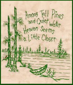 Northwoods Memories Tall Pines Redwork by WellingtonHouseDesig