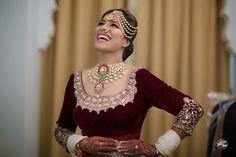 Real Indian Wedding - Manav & Aakritti | WedMeGood | Bride in a Marsala Velvet Blouse with a Polki Set, One Side Maatha Patti  #wedmegood #indianbride #indianwedding #velvet #marsala #polki #maathapatti