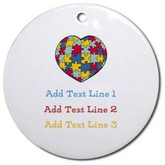 CafePress Personalized Autism Heart Ornament, Round, Multicolor