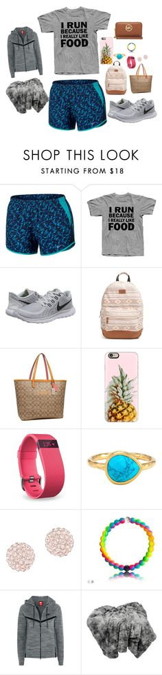 """""""On my way to Cali!!✈️"""" by southerngirl36 ❤ liked on Polyvore featuring NIKE, Rip Curl, Coach, Casetify, Fitbit, Melinda Maria, Swarovski and MICHAEL Michael Kors"""