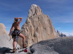 Fitzroy dreaming by Monypenny on UKC. A pretty bikini climber scrutinizes routes on Fitzroy northern face