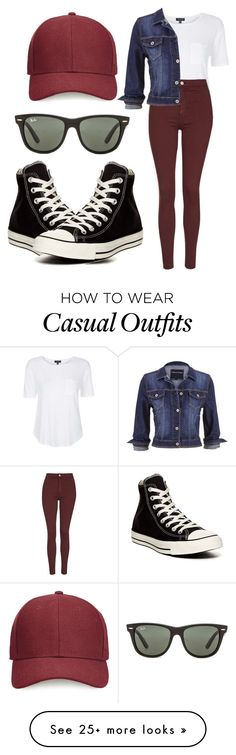 """""""casual outing"""" by shrestha-ayesha on Polyvore featuring moda, Ray-Ban, Topshop, maurices, Converse i Whistles"""