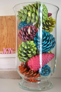 Punch of Color  Use leftover spray paint to coat your pinecones in bright colors and make a stand-out display.