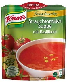 Knorr Feinschmecker Suppen Tomato Soup with Basil. Tomato Soup, Gourmet Recipes, Cantaloupe, Salsa, Curry, Jar, Canning, Fruit, Vegetables