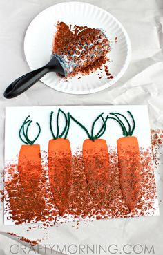 Bubble Wrap Painting: Carrots in the Garden
