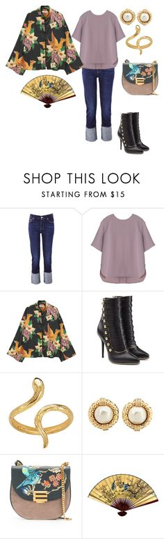 """""""The Orient Express"""" by jfcheney ❤ liked on Polyvore featuring 7 For All Mankind, MANGO, Balmain, Madina Visconti di Modrone and Etro"""