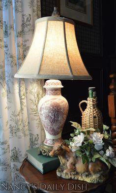 Antique English Transferware Lamp Coalport Pastoral Cottage Scenes Wired & Works - Maroon / Purple ish / Pink ish