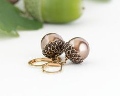 Nature Earrings - Acorn Earrings - Brass and Bronze Pearls - For the Nature Lover - Dangle Earrings - Woodland Jewelry - Rustic - Autumn