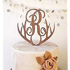 Monogram cake topper, personalized wedding cake topper, rustic wooden heart cake topper, single monogram letter cake topper, cake decoration Country Cake Toppers, Rustic Wedding Cake Toppers, Personalized Wedding Cake Toppers, Wedding Cakes, Letter Cake Toppers, Monogram Cake Toppers, Wooden Cake Toppers, Cupcake Toppers, Deer Antler Wedding