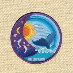 Colourful Sun Moon Water Whale Dolphin Embroidered Patch Badge Sew On Iron On Appliqué Transfer