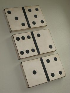 Large wood block dominos, 2×10 piece of lumber sanded and painted. Great for art in Henry's room
