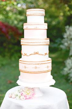 Stack of Gifts Cake: This four-tiered cake by Rosalind Miller is a charming nod to stacked vintage hatboxes or a tower of gifts.