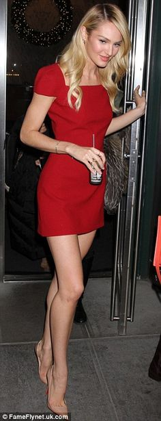 Hot to trot: Candice looked mesmerising in her LRD and stilettos as she left the offices on Thursday