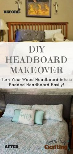 13 Diy Headboards Easy Cheap Fabric Walls headboard ideas DIY Padded Headboard No Sew and Cheap Leap of Faith Crafting Headboard Makeover, Old Headboard, Headboard Cover, Master Bedroom Makeover, Diy Headboards, Diy Bedroom, Headboard Ideas, How To Cover A Headboard With Fabric, Cheap Diy Headboard