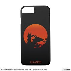 Black Giraffes Silhouettes Sun Sunset In Africa iPhone 7 Case