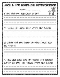 Jack & the Beanstalk Comprehension Questions