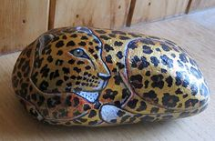 ROCK PAINTING Leopard Rock Hand painted stone by GallowayCritters