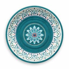 Crafted of worry-free melamine, this Moroccan medallion dinner plate set lets you be effortlessly elegant. Shatterproof, dishwasher safe and BPA free, its melamine construction simply makes sense, whether you love to entertain inside or out. Dinner Plate Sets, Dinner Plates, Melamine Dinnerware Sets, Tableware, Teal Dinnerware, Kitchenware, Keramik Design, Appetizer Plates, Ceramic Art