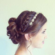 Updo with braid and headband
