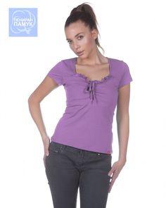 Дамска  блуза Jessica  #Ефреа #online #онлайн #пазаруване #дрехи #блуза #тениска #късръкав #лилава