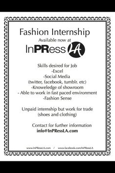 Fashion Social Media Interns Wanted  Chic Report