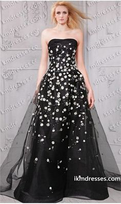 super chic strapless daisies embroidered a line ball gown Black Dresses Multi-Color Dresses