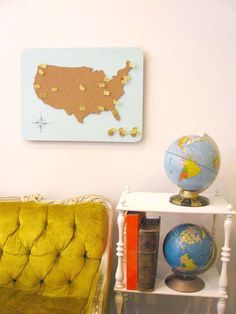 travel cork board -one color pin i've been -second color pin he's been -third color- future destination