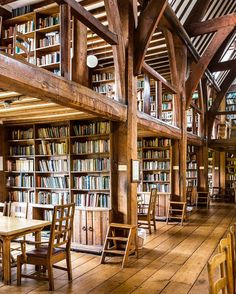 Library at Bedales school in Hampshire, England. Designed by architect-designer Ernest Gimson in the Arts and Crafts style, it's a temple to both books and wood.