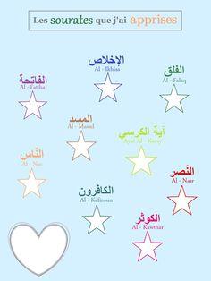 Fatiha - Al koursy - 114 à 108 Ramadan Activities, Preschool Activities, Preschool Behavior, Teaching Kids, Kids Learning, Kids Planner, Arabic Alphabet For Kids, Arabic Lessons, Islam For Kids