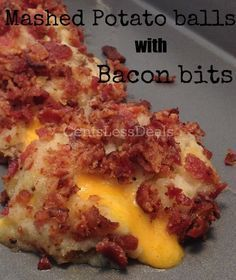 Loaded Mashed Potato Balls with Bacon Bits recipe. These are so delicious!! using my leftover thanksgiving mashed potatoes to make these! Youve never lived until youve had these, cheesey, bacon, potatoes....HEAVEN!! Best Pinterest recipe EVER!