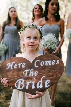 Romantic Woodland Big Bear Wedding for under $24,000 here comes the bride rustic heart sign