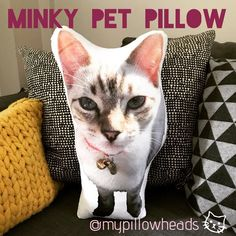 Our Plush Minky fabric makes the softest cuddler of your beloved pet. With a longer pile, it's fur like appearance makes for a great doppelgänger! Make your beloved pet into a super soft customised pillow Cat Lover Gifts, Cat Gifts, Cat Lovers, Personalized Pillows, Custom Pillows, Personalised Gifts, Kids Pillows, Animal Pillows, Gifts For Work Colleagues