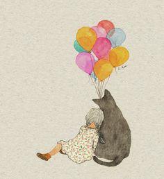 Imagem de cat, girl, and illustration Sweet Drawings, Pretty Drawings, Illustration Art Nouveau, Cute Illustration, Watercolor Animals, Watercolor Paintings, Art Couple, Korean Painting, Art Anime