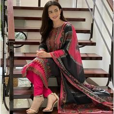 Black rayon cotton digital printed work salwar suit Salwar Suits, Suits You, One Size Fits All, Digital Prints, Sari, Printed, Cotton, Black, Tops