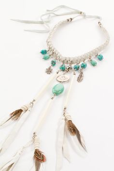 Pocahontas Princess Necklace - Cream Suede & Turquoise | Spell & the Gypsy Collective